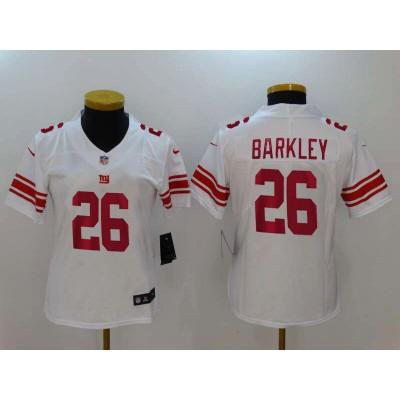 Nike Giants 26 Saquon Barkley White Vapor Untouchable Limited  Women Jersey