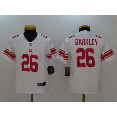Nike Giants 26 Saquon Barkley White Vapor Untouchable Limited Youth  Jersey