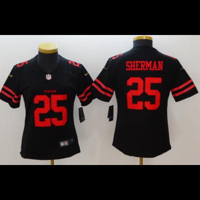 Nike NFL 49ers 25 Richard Sherman Black Vapor Untouchable Limited Women Jersey