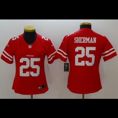 Nike NFL 49ers 25 Richard Sherman Red Vapor Untouchable Limited Women Jersey