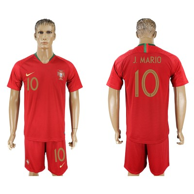 Portugal 10 J. MARIO Home 2018 FIFA World Cup Soccer  Men Jersey