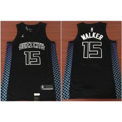 NBA Hornets 15 Kemba Walker Black City Edition Nike Swingman Men Jersey