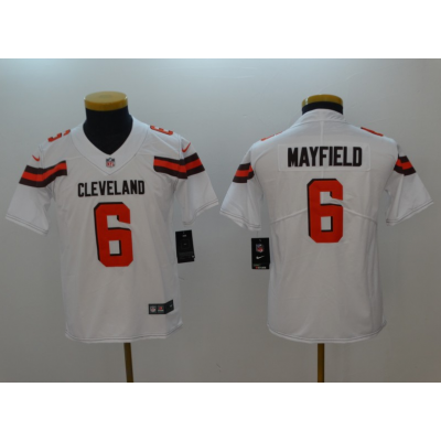 Nike Browns 6 Baker Mayfield White Vapor Untouchable Limited Youth Jersey