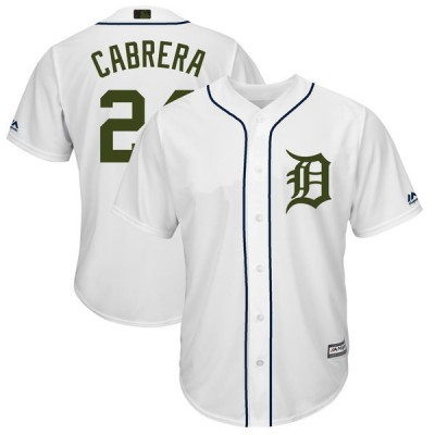 MLB Tigers 24 Miguel Cabrera White 2018 Memorial Day Cool Base Men Jersey