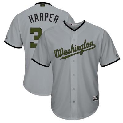 MLB Washington 34 Bryce Harper Gray 2018 Memorial Day Cool Base Men Jersey
