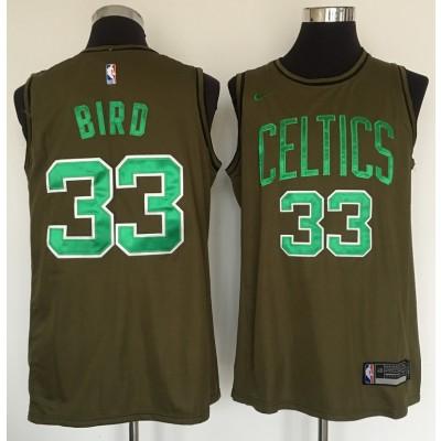 NBA Celtics 33 Larry Bird Olive Nike Swingman Men Jersey