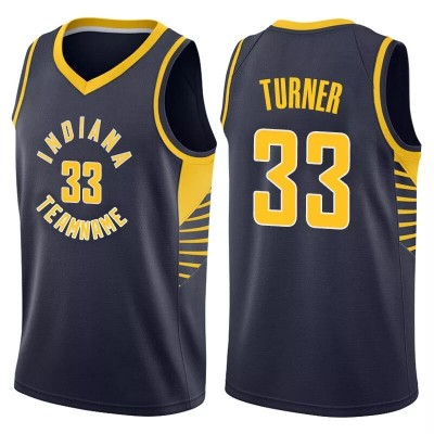 NBA Pacers 33 Myles Turner Navy Nike Men Jersey