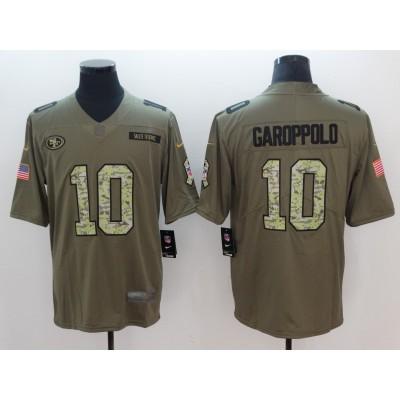 NFL Nike 49ers 10 Jimmy Garoppolo Green Salute To Service Limited Men Jersey