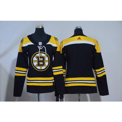 NHL Bruins Blank Black Adidas Women Jersey