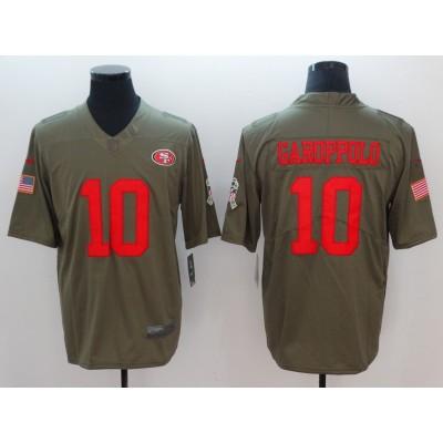 Nike 49ers 10 Jimmy Garoppolo Olive 2017 Salute To Service Limited Men Jersey
