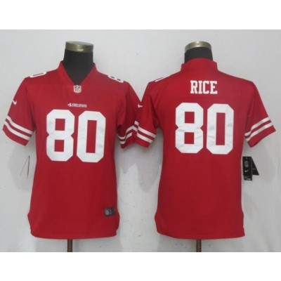 Nike 49ers 80 Jerry Rice Red Vapor Untouchable Player Limited Women Jersey