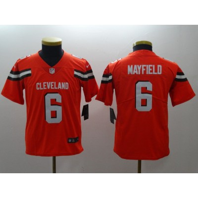 Nike Browns 6 Baker Mayfield Orange Vapor Untouchable Limited Youth Jersey