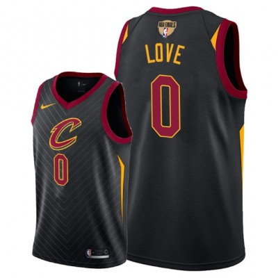 NBA Cavaliers 0 Kevin Love 2018 NBA Finals Patch Black Men Jersey