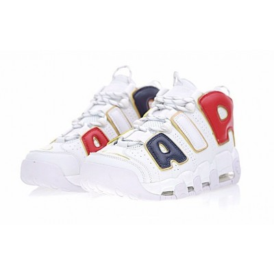 Nike Air More Uptempo QS AIR Navy Blue Red Gold White Shoes