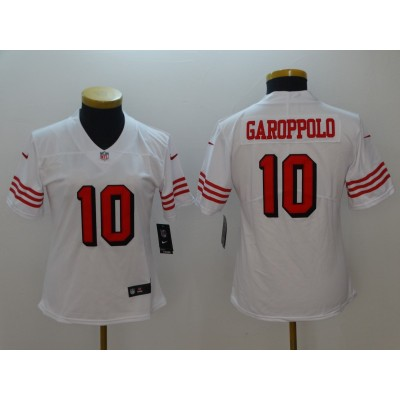Nike 49ers 10 Jimmy Garoppolo White Color Rush Vapor Untouchable Limited Women Jersey