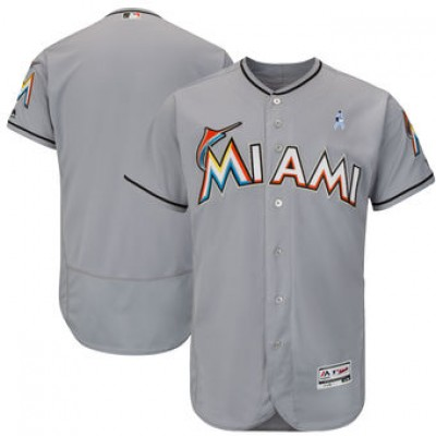 MLB Marlins Blank Gray 2018 Father's Day FlexBase Men Jersey