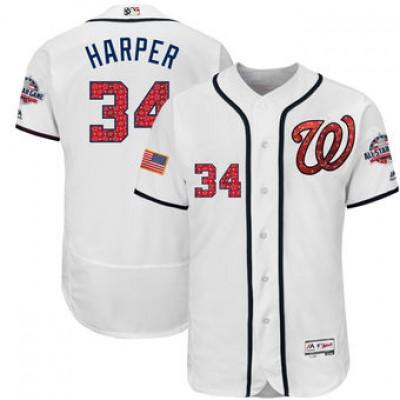 MLB Nationals 34 Bryce Harper White 2018 Stars & Stripes Flex Base Men Jersey