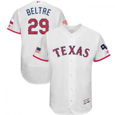 MLB Rangers 29 Adrian Beltre White 2018 Stars & Stripes Flex Base Men Jersey