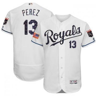 MLB Royals 13 Salvador Perez White 2018 Stars & Stripes Flex Base Men Jersey