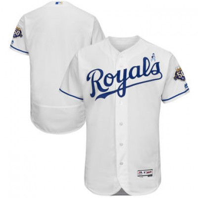 MLB Royals Blank White 2018 Father's Day FlexBase Men Jersey
