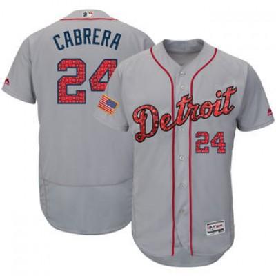 MLB Tigers 24 Miguel Cabrera Gray 2018 Stars & Stripes Flex Base Men Jersey