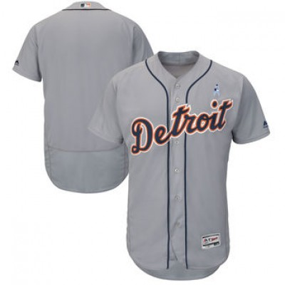 MLB Tigers Blank Gray 2018 Father's Day FlexBase Men Jersey