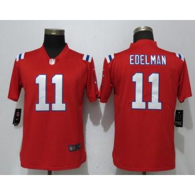 Nike Patriots 11 Julian Edelman Red Vapor Untouchable Limited Women Jersey