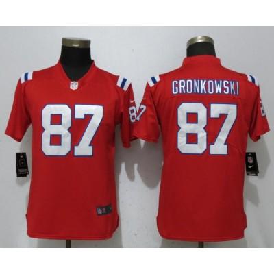 Nike Patriots 87 Rob Gronkowski Red Vapor Untouchable Limited Women Jersey
