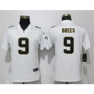 Nike Saints 9 Drew Brees White Vapor Untouchable Limited Women Jersey