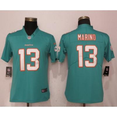 Nike Dolphins 13 Dan Marino Aqua Vapor Untouchable Limited Women Jersey