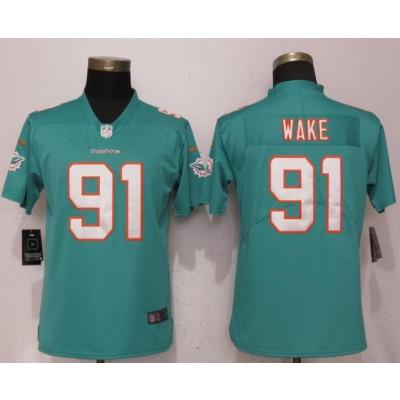 Nike Dolphins 91 Cameron Wake Aqua Vapor Untouchable Limited Women Jersey