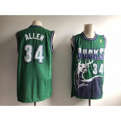 NBA Bucks 34 Ray Allen Green Throwback Swingman Men Jersey