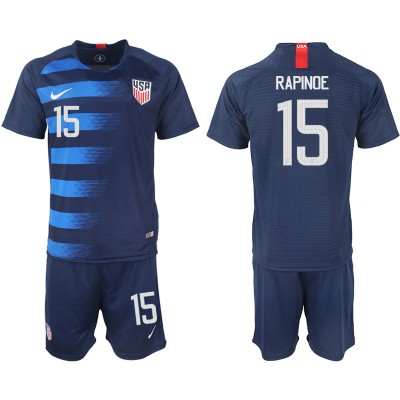 2018-19 USA 15 RAPINOE Away Soccer Men Jersey