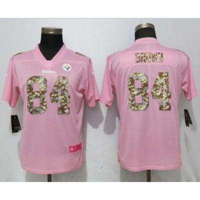Nike Steelers 84 Antonio Brown Pink Camo Fashion Limited  Women Jersey