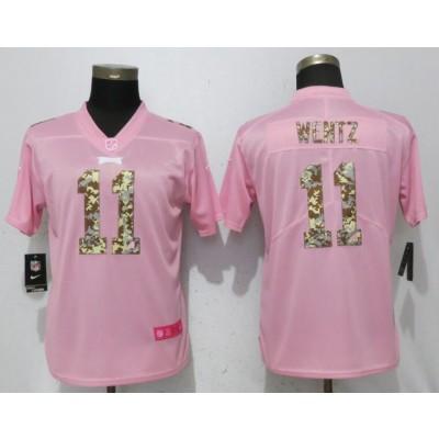 Nike Eagles 11 Carson Wentz Pink Camo Fashion Limited Women Jersey