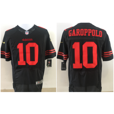 Nike NFL 49ers 10 Jimmy Garoppolo Black Elite Men Jersey