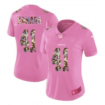 Nike Saints 41 Alvin Kamara Pink Camo Fashion Limited Women Jersey