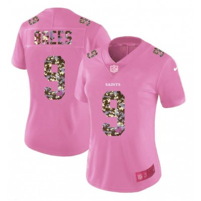 Nike Saints 9 Drew Brees Pink Camo Fashion Limited Women Jersey