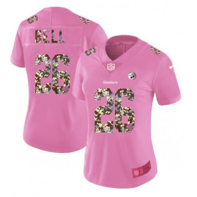 Nike Steelers 26 Le'Veon Bell Pink Camo Fashion Limited Women Jersey