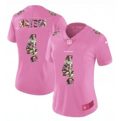 Nike Texans 4 Deshaun Watson Pink Camo Fashion Limited Women Jersey