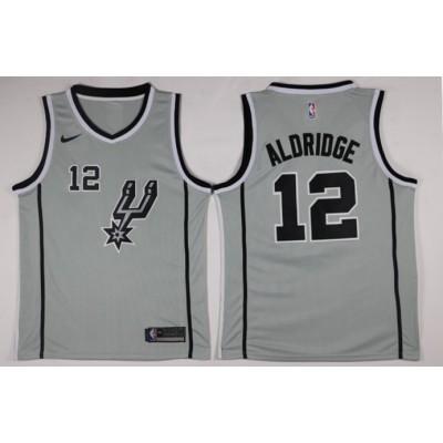 NBA Spurs 12 LaMarcus Aldridge Nike Gray Men Jersey