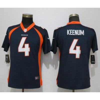 Nike Broncos 4 Case Keenum Navy Vapor Untouchable Limited Women Jersey