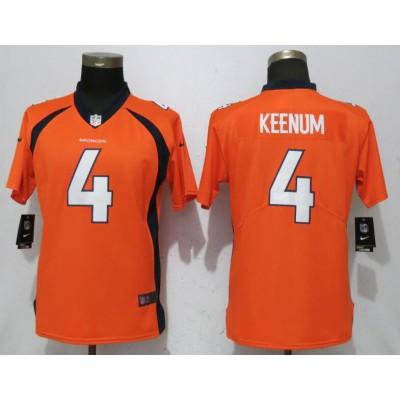 Nike Broncos 4 Case Keenum Orange Vapor Untouchable Limited Women Jersey