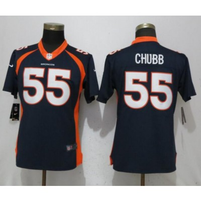 Nike Broncos 55 Bradley Chubb Navy Vapor Untouchable Limited Women Jersey