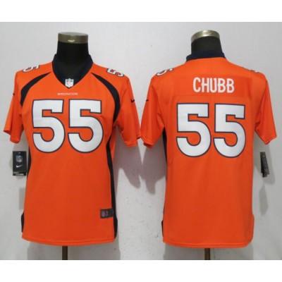 Nike Broncos 55 Bradley Chubb Orange Vapor Untouchable Limited Women Jersey