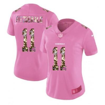 Nike Cardinals 11 Larry Fitzgerald Pink Camo Fashion Limited Women Jersey