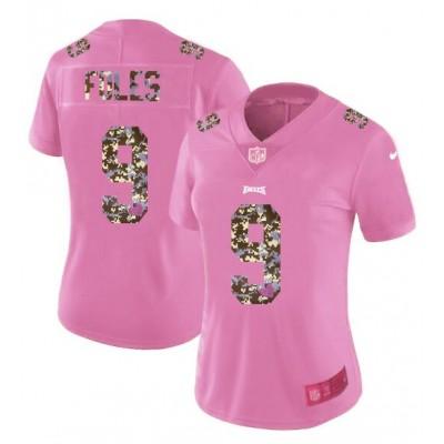 Nike Eagles 9 Nick Foles Pink Camo Fashion Limited Women Jersey