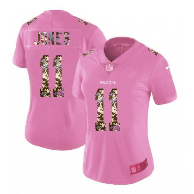 Nike Falcons 11 Julio Jones Pink Camo Fashion Limited Women Jersey