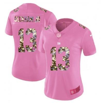 Nike Giants 13 Odell Beckham Jr. Pink Camo Fashion Limited Women Jersey