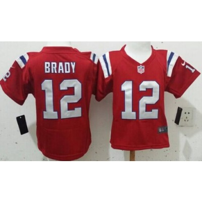 Nike Patriots No.12 Tom Brady Red NFL Toddler Jersey